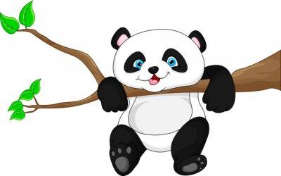 Affisch Gullig rolig pandaunge hängande på trädet