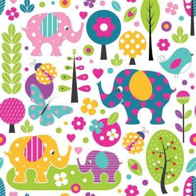 Affisch gulliga elefanter, nyckelpigor, fjärilar och fåglar i en färgrik skog mönster