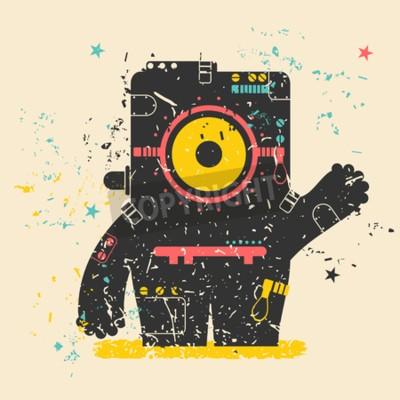 Affisch Gulligt monster på retro grunge