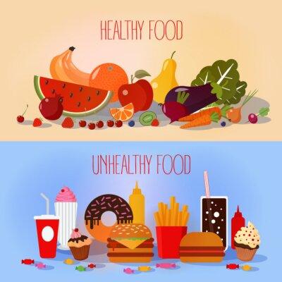Affisch Hälsosam mat och ohälsosam snabbmat