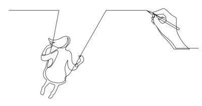 Affisch hand drawing concept sketch of girl on swing