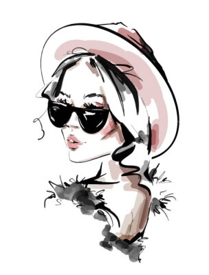 Affisch Hand drawn beautiful young woman in sunglasses. Stylish elegant girl. Fashion woman look. Sketch. Vector illustration.