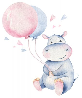 Affisch Hand drawn cute isolated tropical summer watercolor hippo animals. hippopotamus baby and mother cartoon animal illustrations, jungle tree, brazil trendy design. Aloha collection.