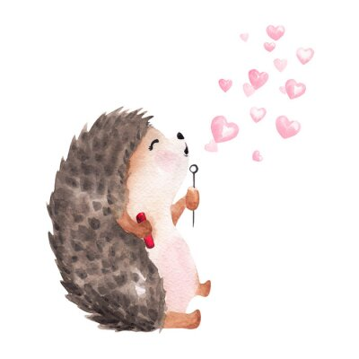Affisch Hand drawn watercolor hedgehog blowing heart shaped bubbles