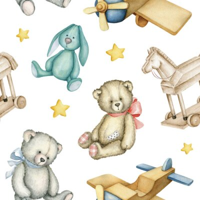Affisch Hand drawn watercolor seamless pattern with old-fashioned toys. Teddy Bears. Bunny toy. Airplane. Rocking horse. Watercolor Illustration on white background.