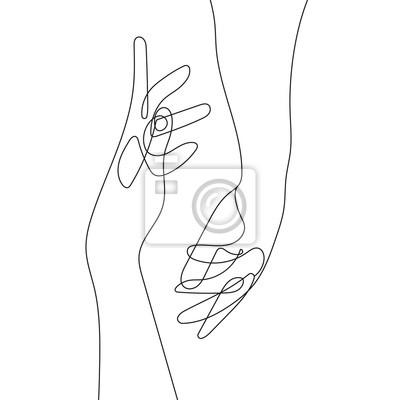 Affisch Hand Gesture Continuous Line Drawing. Couple Minimalist Contour Illustration. One Line Hands Concept. Vector EPS 10.