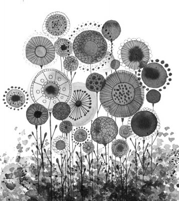 Affisch Hand made ink drawings with floral motifs resembling dandelions, black and white