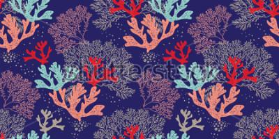 Affisch Hand Rite sömlös vektormönster. Trendigt mönster med koraller och alger på en blå bakgrund för tryckning, tyg, textilier, tillverkning, tapeter. Havsbotten.