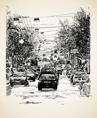 Affisch handen rita linjegrafik stadstrafik komposition