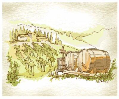 Affisch Handgjorda skiss druva fält och vingårdar.