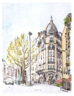 Affisch Handmålade färg skiss av Paris street