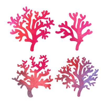 Affisch handritad dekorativa akvarell korall