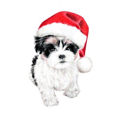 Affisch handritad hundvalp med jultomten hatt, gullig rolig julkort clipart, skiss av hund färgpennateckning, semester ClipArt illustration isolerad på vit bakgrund
