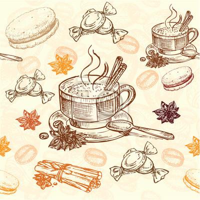 Affisch handritad kaffe mönster