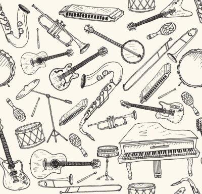Affisch Handritad musikinstrument.
