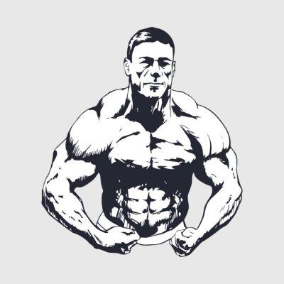 Affisch Handritad muskulös man - Kroppsbyggare
