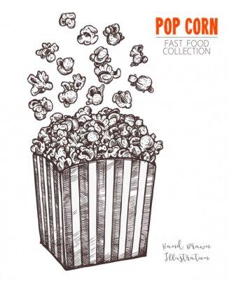Affisch Handritad skisspopcorn, biomat mellanmål i graverad stil. Vektorillustration av den fulla lådan med flygande havre. Symbol för fastfood, bio, underhållning. Vektor isolerad på vit bakgrund