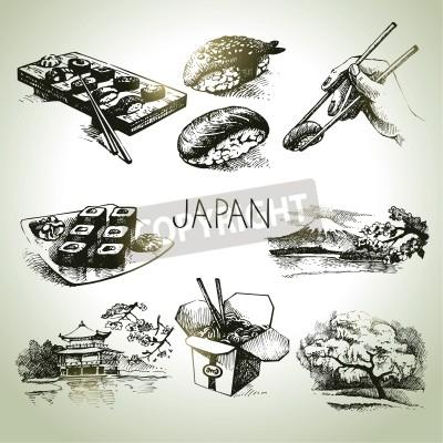 Affisch Handritad tappning japansk set