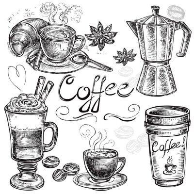 Affisch handritad uppsättning kaffesamling