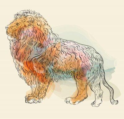 Affisch Handritad vektor illustration med lejon