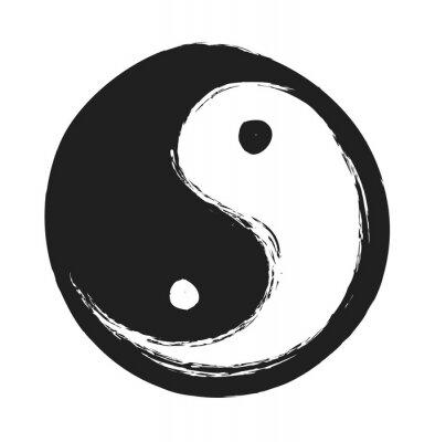 Affisch handritad ying yang symbol för harmoni och balans, designelement