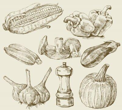 Affisch Handritade set grönsaker
