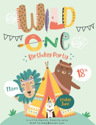 Affisch Happy birthday party invitation card with cartoon tribal animals. Vector illustration - Vector