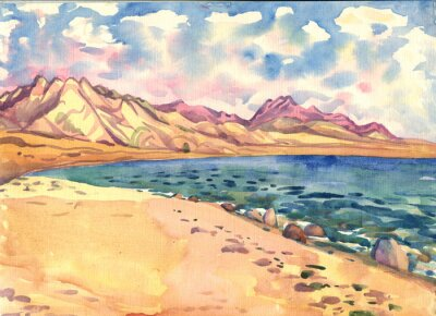 Affisch hav och berg. Landskap. akvarellmålning