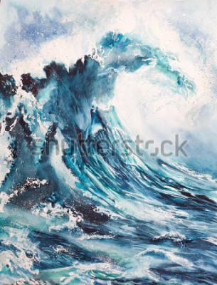 Affisch havsvåg akvarellmålning