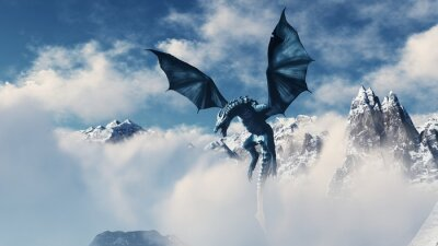 Affisch High resolution Ice dragon 3D rendered. Write your text and use it as poster, header, banner or etc.