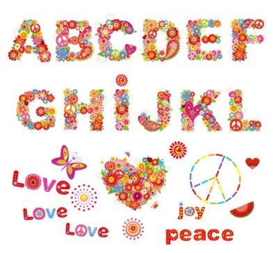 Affisch Hippie blommig alfabetet med roliga färgrika blommor. Del 1