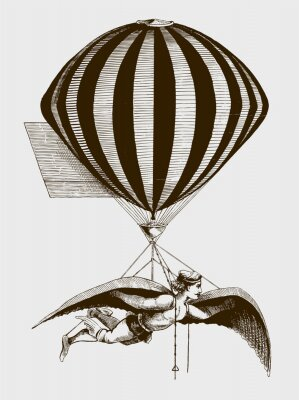 Affisch Historic aerialist wearing wings while suspended from a balloon. Illustration after a woodcut from the 19th century. Editable in layers