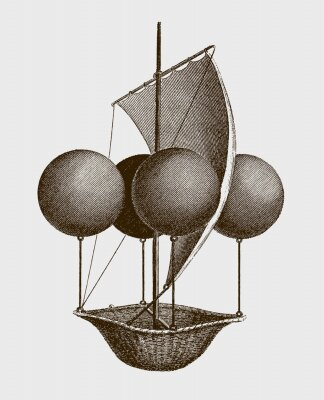 Affisch Historic flying ship, an aeronautic machine by Francesco Lana Terzi from 1670. lllustration after an engraving from the early 19th century. Editable in layers