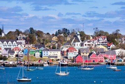 Affisch Historiska Lunenburg hamn Nova Scotia NS Kanada