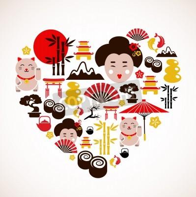 Affisch Hjärta form med Japan ikoner