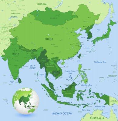 Affisch Hög detalj vektor karta över Fjärran Östern Asien