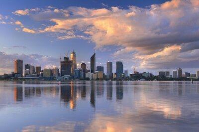 Affisch Horisont Perth, Australien över Swan River vid solnedgången