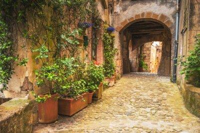 Affisch Hörn toskanska medeltida städer i Italien
