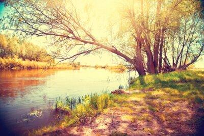 Affisch Hösten landskap med en flod. vacker scen