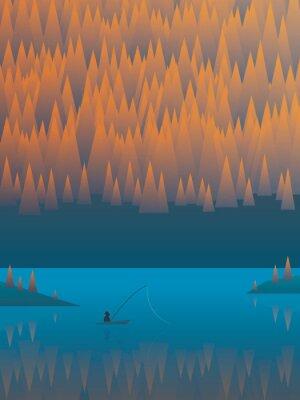 Affisch Hösten landskap vektor bakgrund med blad träd och en sjö. Fiskare fiske från sin båt