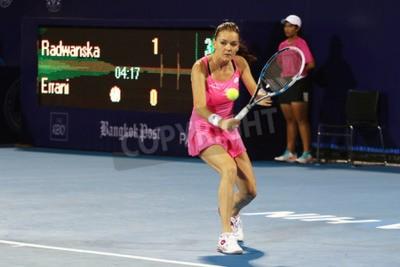 Affisch Hua Hin, Thailand - den 1 januari, 2016: Agnieszka Radwanska rankas som nummer 5 i världen. World Tennis Thailand Championship 2016 vid Sann Arena Hua Hin sport klubb, Prachuap Khiri Khan.