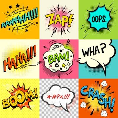 Affisch Humorboken uttryck! En uppsättning av serietidning pratbubblor och uttrycks ord. vektor