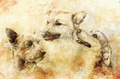 Affisch Hundar ritar att dra på gammalt papper, vintagepapper och gamla strukturen med färgfläckar.