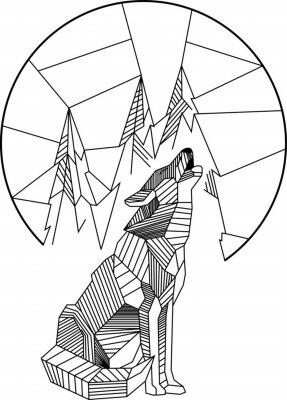 Affisch Hurling Wolf Geometric