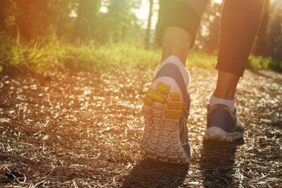 Affisch Idrottsman löpare fötter körs i naturen, närbild på skon. Kvinna fitness jogging, aktiv livsstil koncept