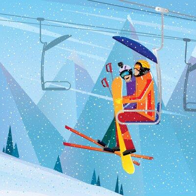 Affisch Idrottsutövare bestiga berget på Aerial Lift
