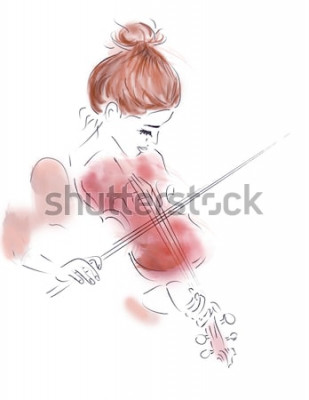Affisch Illustration av en flicka som spelar en fiol