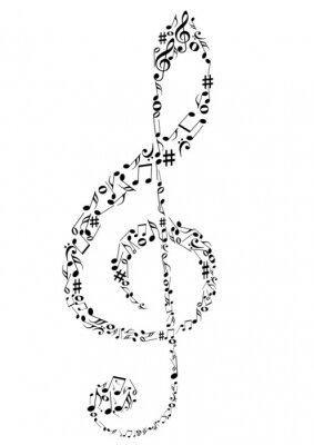 Affisch Illustration av en G-klav med noter