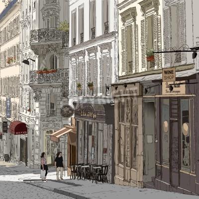 Affisch illustration av en gata i Montmartre Paris