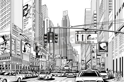 Affisch Illustration av en gata i New York City